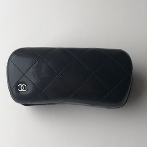 Chanel Sunglass Case Black Quilted Leather CC Logo
